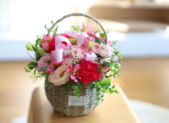 전국으로 꽃 보내세요 - 귀여운 꽃바구니(핑크)