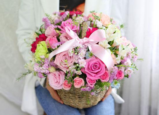 전국배송가능 꽃바구니 - 사랑이 꽃피는 집