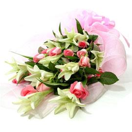 핑크장미백합꽃다발 꽃배달하시려면 이미지를 클릭해주세요