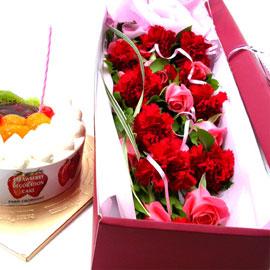 감사의 마음을 담아 + 케익패키지(생크림1호) 꽃배달하시려면 이미지를 클릭해주세요