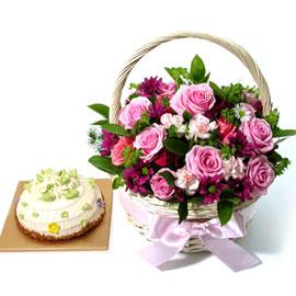봄빛한바구니와케익(생크림1호로 진행*바구니변경) 꽃배달하시려면 이미지를 클릭해주세요