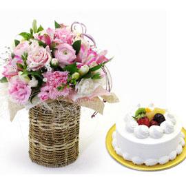 [서울배송] 기분 좋은 날+ 생크림케익1호 (**바구니 품절로 바구니 교체 되어 진행) 꽃배달하시려면 이미지를 클릭해주세요