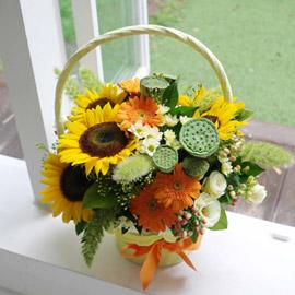 Summer yellow - Love Song(계절꽃없을시 바구니, 소재변경됨) 꽃배달하시려면 이미지를 클릭해주세요