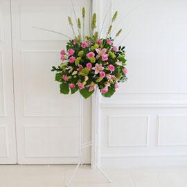 [수도권배송] 플라워119 디자인화환 - 핑크&그린 축하화환 꽃배달하시려면 이미지를 클릭해주세요