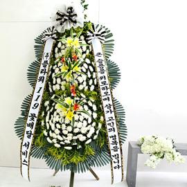 조문용 3단 화환 (특고급 대) - 큰슬픔을 위로하며 삼가..... 꽃배달하시려면 이미지를 클릭해주세요
