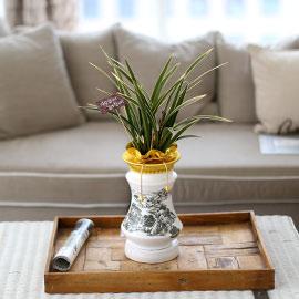 시선을 머물게 하는 실내 식물 - 하얀화기의 고급스런 동양란(황금채홍) 꽃배달하시려면 이미지를 클릭해주세요