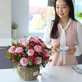 전국으로 꽃 보내세요 -장미바구니(핑크)