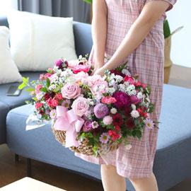 전국으로 꽃 보내세요 - 풍성하면서 화려한 꽃바구니 - Happiness 꽃배달하시려면 이미지를 클릭해주세요