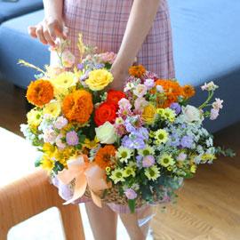 전국으로 꽃 보내세요- 고급스러우면서 풍성한 꽃바구니 - joyful 꽃배달하시려면 이미지를 클릭해주세요