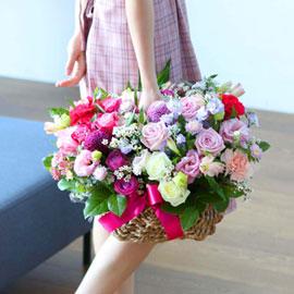 전국으로 꽃 보내세요 - 고급스러우면서 풍성한 꽃바구니 - beautiful pinklady 꽃배달하시려면 이미지를 클릭해주세요
