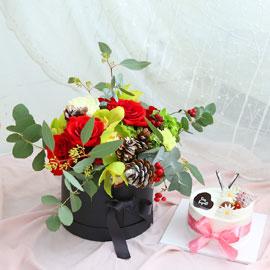 크리스마스케익과 함께(사랑을 담아 드립니다) 꽃배달하시려면 이미지를 클릭해주세요