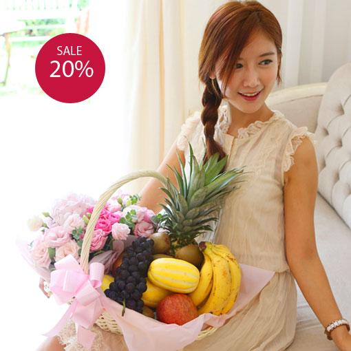 출산에는 과일바구니화사한 꽃과 풍성한 과일을 함께 보내세요