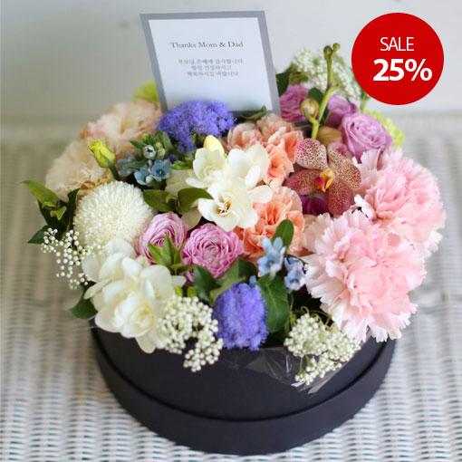 정성스럽고 고급스러운 꽃선물화사하고 싱그러운 플라워박스
