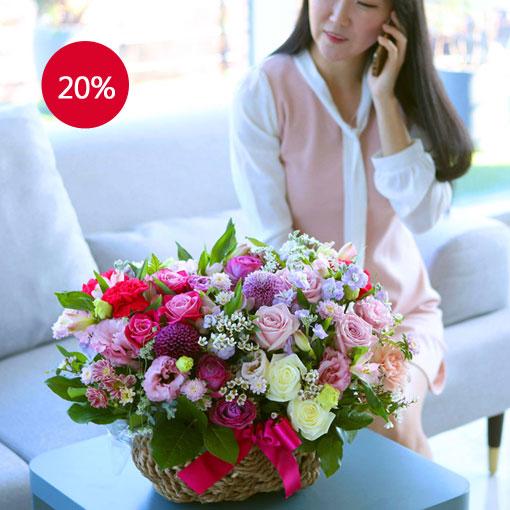 풍성한 꽃바구니어머 꽃 정말 예쁘다! 고마워!