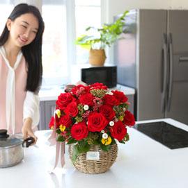 전국으로 꽃 보내세요 -장미바구니(레드)