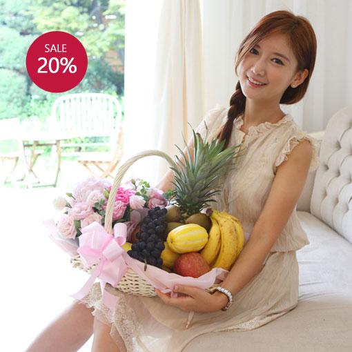 소중한 탄생을 축하하며맛 좋은 과일과 꽃을 선물해요